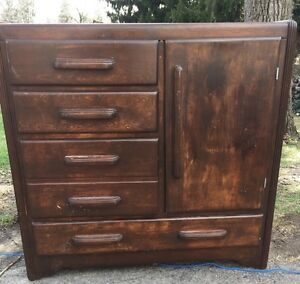 Vintage Art Deco Armoire Wardrobe Dark Wood 40 L X 15 D X 38 H