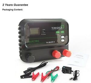 Electric Fence Energizer Charger Lcd 30km For Cattle Sheep Goat Horse Elepant