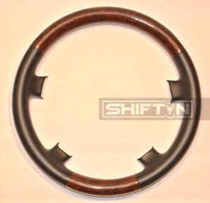 Black Leather Wood Steering Wheel Cover Mercedes Benz W210 E Class W202 C Class