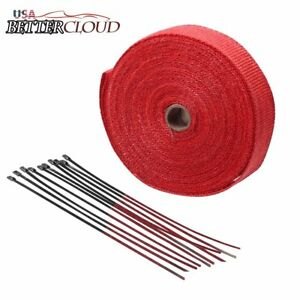2 Inch Wide X 50 Feet Roll Exhaust Pipe Heat Wrap Motorcycle Header Red
