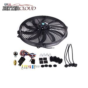 16 Inch Electric Radiator Cooling Fan 3 8 Probe Ground Thermostat Switch Kit