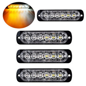 4pc 6 Led Light Flash Emergency Car Vehicle Warning Strobe Flashing Amber White