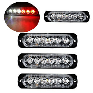 4pc 6 Led Light Flash Emergency Car Vehicle Warning Strobe Flashing Red White
