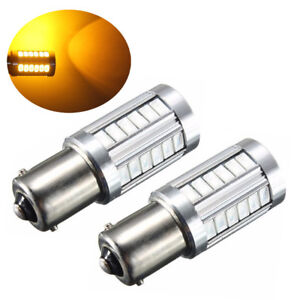 2pc Amber 1156 Ba15s P21w Led 33smd Car Tail Turn Brake Reverse Signal Bulb