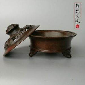 China Handmade Antique Bronze Qianlong Hollow Lid Sandalwood Incense Burners