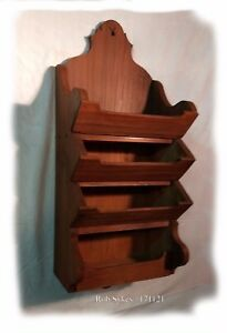 Primitive Rustic Four Tier Wall Hanging Shelf In Red Wash Paint