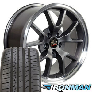 18x9 Wheels And Tires Fits Ford Mustang Fr500 Style Anthracite Rim W Ironman