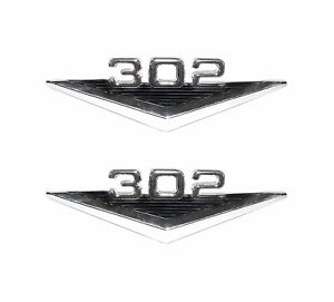 64 65 66 Ford Mustang Gt Coupe Fastback Convertible 302 Fender Emblems Pair New