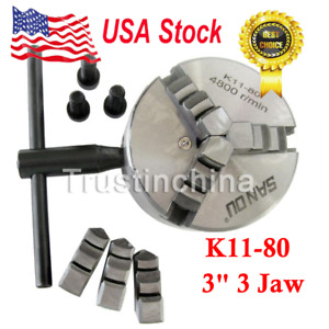 1 Pc Lathe Chuck 3 3 Jaw Self Centering W 2 Sets Jaw K11 80 Sct 888