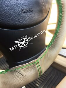 Fits Mercedes E Class 00 03 Beige Leather Steering Wheel Cover Green Double Stch