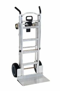 Cosco 3 in 1 Aluminum Hand Truck assisted Hand Truck cart W Flat Free Wheels