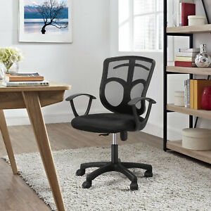Mesh Office Desk Chair Black Mid back Computer Chair Task Swivel Seat W Hanger