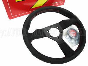 Momo Steering Wheel Monte Carlo 320mm Alcantara Red Stitch Horn Black Spoke