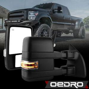 Oedro Tow Mirrors For 08 16 Ford Super Duty Power Heated Led Signal Puddle Drl