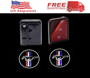 2 Wireless Courtesy Car Led Door Projector Logo Ghost Shadow Light For Mustang