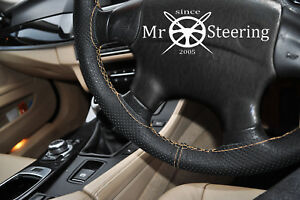 For 94 Mercedes C W202 Perforated Leather Steering Wheel Cover Beige Double Stt