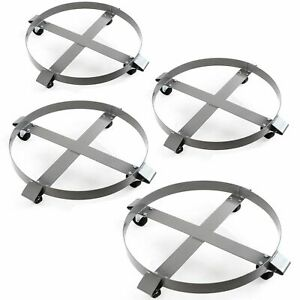 4 1 000 Lb Drum Dollies For 55 Gal Swivel Casters Non Tipping Steel Frame New