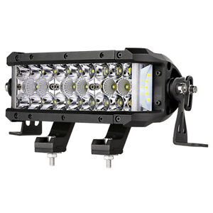 8 in Side Shooter Led Light Bar Pod Spot Flood Combo Work Drive Tri Row Off Road