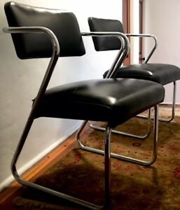 Art Deco Streamline Machine Age Chrome And Black Chair Designed By Gilbert Rohde