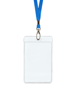 Light Blue Id Lanyard Neck Strap Cord Clip Vertical Badge Tag Card Holder Pouch