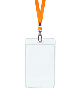 Orange Id Lanyard Neck Strap Cord Clip And Vertical Badge Tag Card Holder Pouch