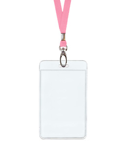 Pink Id Lanyard Neck Strap Cord Clip Vertical Badge Tag Card Holder Clear Pouch
