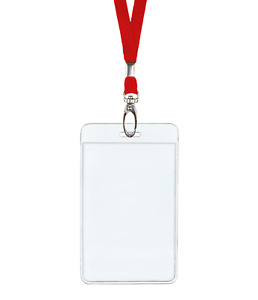 Red Id Lanyard Neck Strap Cord Clip Vertical Badge Tag Card Holder Clear Pouch