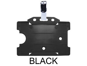 Black Id Badge Card Holder Plastic Pass Single Sided Landscape Metal Clasp Clip