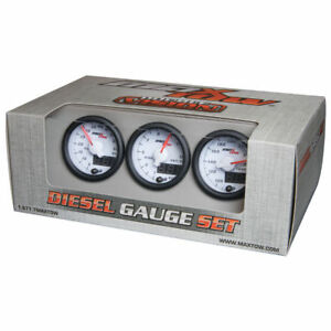 Maxtow 52mm White Double Vision Diesel Gauges 60 Boost 1500 Pyrometer Trans