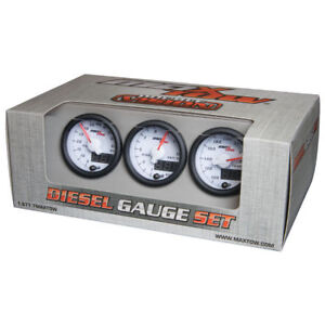 Maxtow 52mm White Double Vision Diesel Gauges 60 Boost 1500 Pyrometer