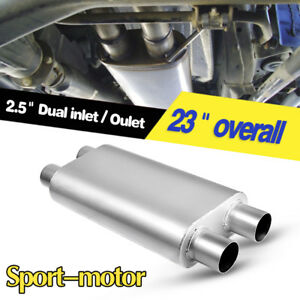 3 Chamber Oval Muffler Exhaust Race 2 5 Inlet 2 5 Outlet Dual 17 Body Length