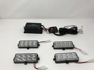 4pcs 32 Led Surface Mount Amber Universal Tow Truck Emergency Police Fire