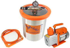 Bvv 3 Gallon Stainless Steel Vacuum Degassing Chamber And 3cfm 1 stage Pump Kit