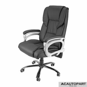 High Back Reclining Swivel Extra Wide Office Chair Pu Leather Sturdy Casters