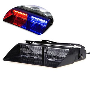 Car 16 Led 18 Flashing Mode Emergency Vehicle Dash Warning Strobe Light Red Blue