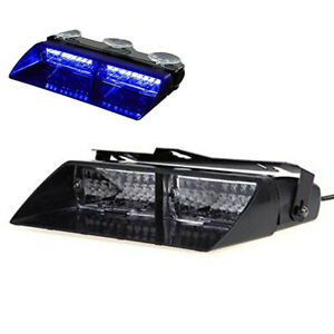 Car 16 Led 18 Flashing Mode Emergency Vehicle Dash Warning Strobe Light Blue