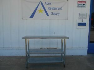 Stainless Steel Work Table 48 X 14 W 2 Undershelves Commercial 2750