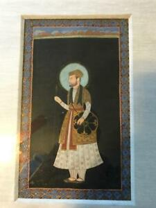 Antique Indian Mughal Persian Islamic Art Miniature Painting Folio Manuscript