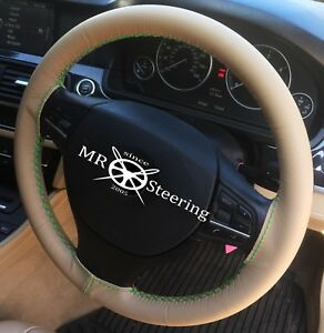 Fits Mercedes R Class 06 12 Beige Leather Steering Wheel Cover Green Double Stch
