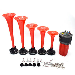 125db 12v 5 Red Tube Air Horn Dukes Of Hazzard General Lee Fit For Car Boat