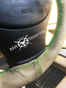 For Mercedes Atego Truck 05 Beige Leather Steering Wheel Cover Green Double Stt