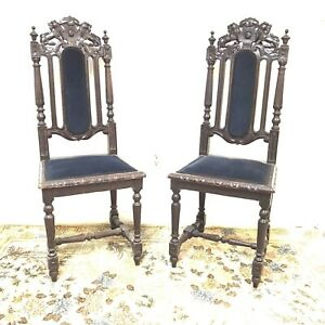 19th Century French Gothic Hunting Chair W Lion Crest 2 Available
