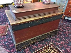 Early 1800 S 6 Board Pine Painted Trunk Blanket Chest Tack Box 2 Boards