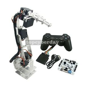 Silver 6 dof Alloy Robotic Arm Kit Clamp Claw Servos controller For Arduino