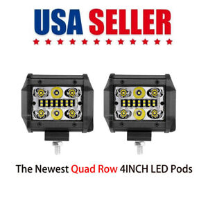 5 Spot Flood Combo Led Work Light Pods Quad Row 168w Driving Off road Truck 4wd