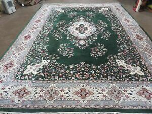9 X 12 Vintage Persian Kirman Kerman Rug Medallion Hand Knotted Wool Green Wow