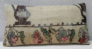 Needlepoint Tapestry Aubusson Handwoven Small Kilim Rug Pillow Cover 12 X 20