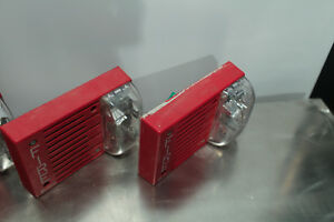 lot Of 2 Simplex Fire Alarm Horn Strobe 4903 9215 Red Good Used Condition