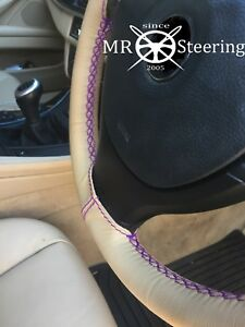 For Vw Eurovan 1992 03 Beige Leather Steering Wheel Cover Purple Double Stitch