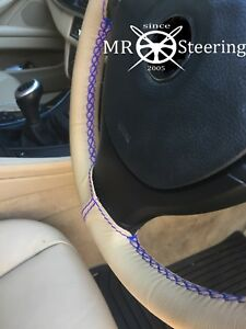 For Vw Eurovan 92 03 Beige Leather Steering Wheel Cover Royal Blue Double Stitch